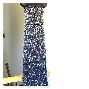 ADRIANNA PAPELL sz 4 dark gray blue gown prom